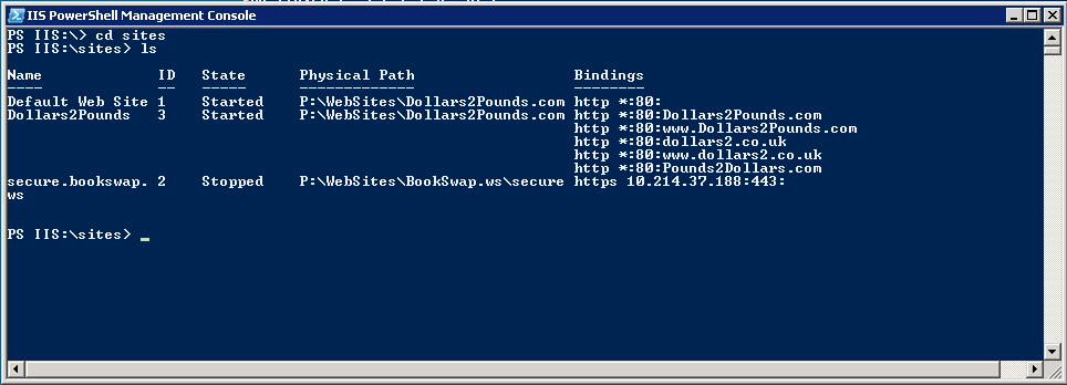 Steve's blog | Configuring IIS 7 Bindings with IIS PowerShell Provider